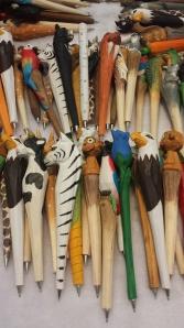 Carved wooden pens