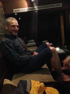 Dad enjoying his foot massage/scrub