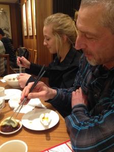 Finally using those chopsticks!
