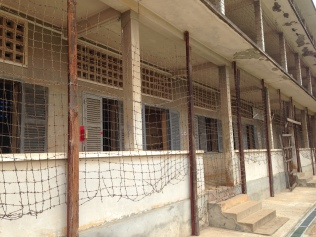 Barbed wire outside of the holding cells to keep the prisoners from committing suicide.