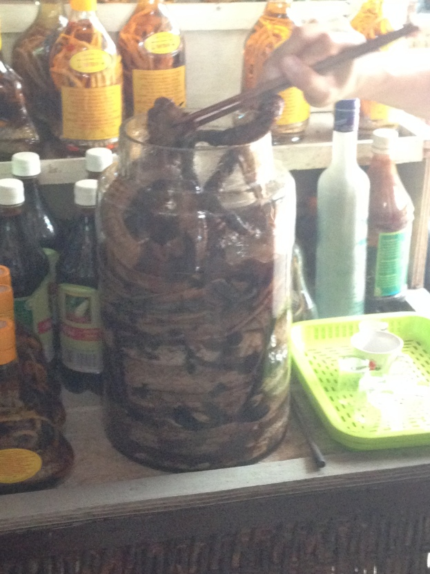 A jug of dead snakes, birds, and other animals. The juice is supposed to be for good health.